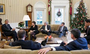 President Barack Obama meets with senior advisors Photo by by Pete Souza, Whitehouse.gov
