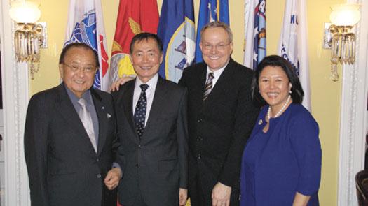 Sen. Dan Inouye, George Takei, Brad Altman and Irene Hirano Inouye Photo by