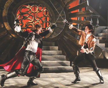 Three Musketeers: Peter Pereyraas as Rochefort and Dallas Tolentinoas as D'Artagnan Photo by Johnny Shryock