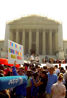 Outside the Supreme Court after pro-gay marriage rulings Photo by Aram Vartian