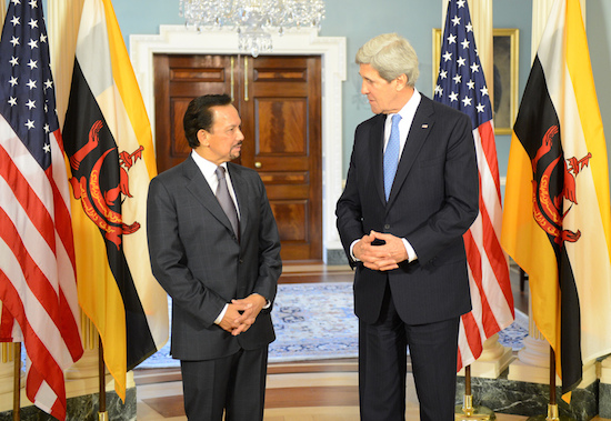 U.S. Secretary of State John Kerry meets with Bruneian Sultan Hassanal Bolkiah at the U.S. Department of State in Washington, D.C., on March 11, 2013. Credit: State Department photo.