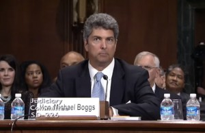 Image: Michael Boggs testifies at his May 13 confirmation hearing. Credit: Senate Judiciary Committee.