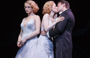 Emily Padgett as Daisy Hilton, Erin Davie as-Violet Hilton, Matthew Hydzik as Buddy Foster Photo by Joan Marcus