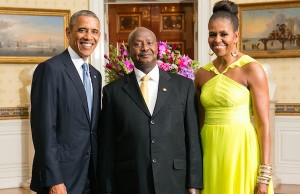 Photo: Barack Obama (left), Ugandan President Yoweri Museveni, Michelle Obama. Credit: Official White House Photo by Amanda Lucidon.