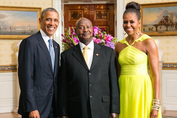 Photo: Barack Obama (left), Ugandan President Yoweri Museveni, Michelle Obama. Credit: Official White House Photo by Amanda Lucidon.