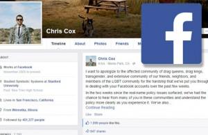 Facbook profile of Chris Cox
