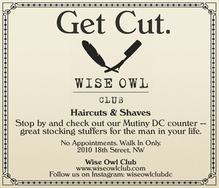 Wise Owl Club -- Haircuts and Shaves -- www.wiseowl.com / 2010 18th Street NW