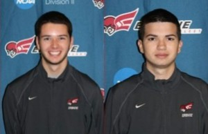 Erskine volleyball players Drew Davis (left) and Juan Varona (Image credit: Erskine College).