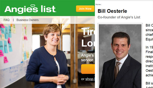 Screen shots of Angie's List website and Co-founder Bill Oesterle.