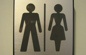 Gender neutral toilet sign at department of sociology, Gothenburg University, Gothenburg, Sweden. (Photo credit: Flinga, via Wikimedia Commons.)