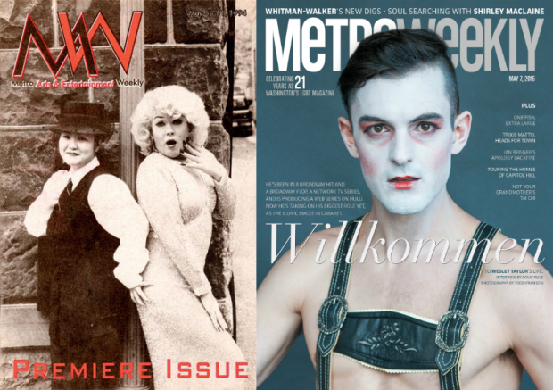 Metro Weekly's first cover, by Richard von Zimmer, and our 21st anniversary cover, by Todd Franson