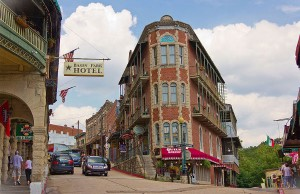 A view of the corner of Spring and Center Streets in downtown Eureka Springs, Ark. (Credit: Doug Wertman via Flickr via Wikimedia Commons.)