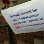 A sign from the recent debates over Fairfax County Public Schools adopting pro-LGBT policies that include gender identity. (Credit: john Riley)