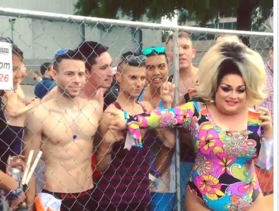 Ginger Minj backstage at Pride
