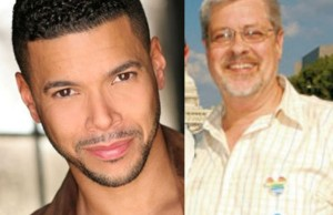 Pride Grand Marshals Wilson Cruz (left) and Deacon Maccubbin
