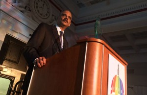 Attorney General Eric Holder speaks at Capital Pride's 2015 Heroes Gala.