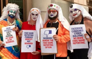 "Members of the D.C. chapter of the Sisters of Perpetual Indulgence protest Facebook's ""real names"" policy. Photo credit: Matthew Albritton."