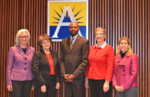 Members of the Arlington County School Board (from left to right: Barbara Kanninen, Emma Violand-Sanchez, James Lander, Nancy Van Doren, Abby Raphael) Photo credit: Arlington County Public Schools.