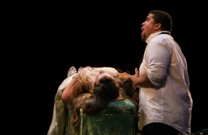Roméo (Chaz'men Williams-Ali) sings over Juliette's (Merideth Marano) seemingly lifeless body, Credit - Dhanesh Mahtani