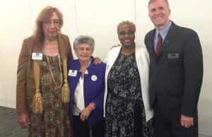 From left to right: Barbara Satin of the National LGBTQ Task Force, Sandy Warshaw, Dr. Imani Woody of Mary's House, and Michael Adams of SAGE USA at the White House Conference on Aging (Photo courtesy of SAGE USA).
