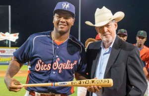 Denson receiving the Minor League Baseball Top Star Award after the 2015 Northwest/Pioneer League All-Star Game. (Credit: Jared Ravich, via MiLB.com)