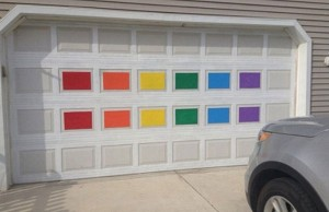 The DeLong's repainted rainbow garage (Credit: The DeLong family, via Instagram).