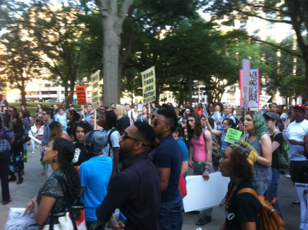 Attendees of BLM's Trans Liberation Tuesday rally in Franklin Square on Aug. 25, 2015 (Credit: John Riley).