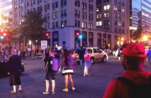 "Demonstrators from Black Lives Matter's ""Trans Liberation Tuesday"" rally took to the streets afterward, shutting down a major intersection at 14th and K Streets NW in downtown D.C. (Credit: John Riley)."