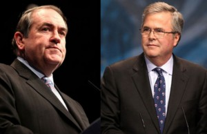 Former Arkansas Gov. Mike Huckabee and former Florida Gov. Jeb Bush (Photo: Gage Skidmore, via Wikimedia Commons).