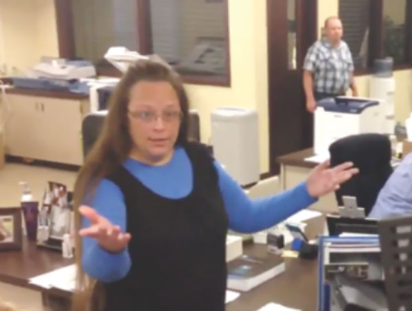 A still frame of a video clip showing Rowan County Clerk Kim Davis rejecting couples seeking marriage licenses on Sept. 1. (Video: Hillary Thornton, WKYT.)