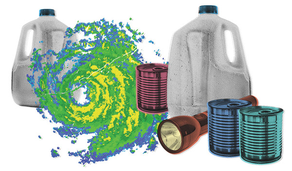 Hurricane items - food, water, flashlight
