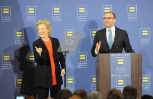 Hillary Clinton gets introduced by HRC President Chad Griffin (right) before her speech to LGBT activists and members of the Human Rights Campaign on Oct. 3 in Washington. (Photography by Ward Morrison)