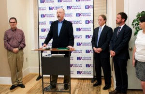 John Murphy (center) at a press conference explaining his termination from St. Francis Home in Richmond. Also pictured from left to right are: Jerry Carter, attorney Aubrey Ford, James Parrish of Equality Virginia, and Rebecca Glenberg of the ACLU of Virginia. (Photo: Brandon Day/Equality Virginia.)