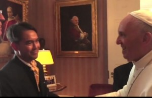 Video still of Grassi (far left) and Bagus (left) meeting with Pope Francis. (Photo: Marissa Marchitelli/NY Times)
