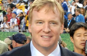 NFL Commissioner Roger Goodell during Super Bowl XLIII in 2009 (Photo: Staff Sgt. Bradley Lail, USAF, via Wikimedia Commons).