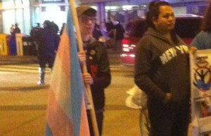 Demonstrators at the Transgender Day of Action demonstration in Columbia Heights. John Riley
