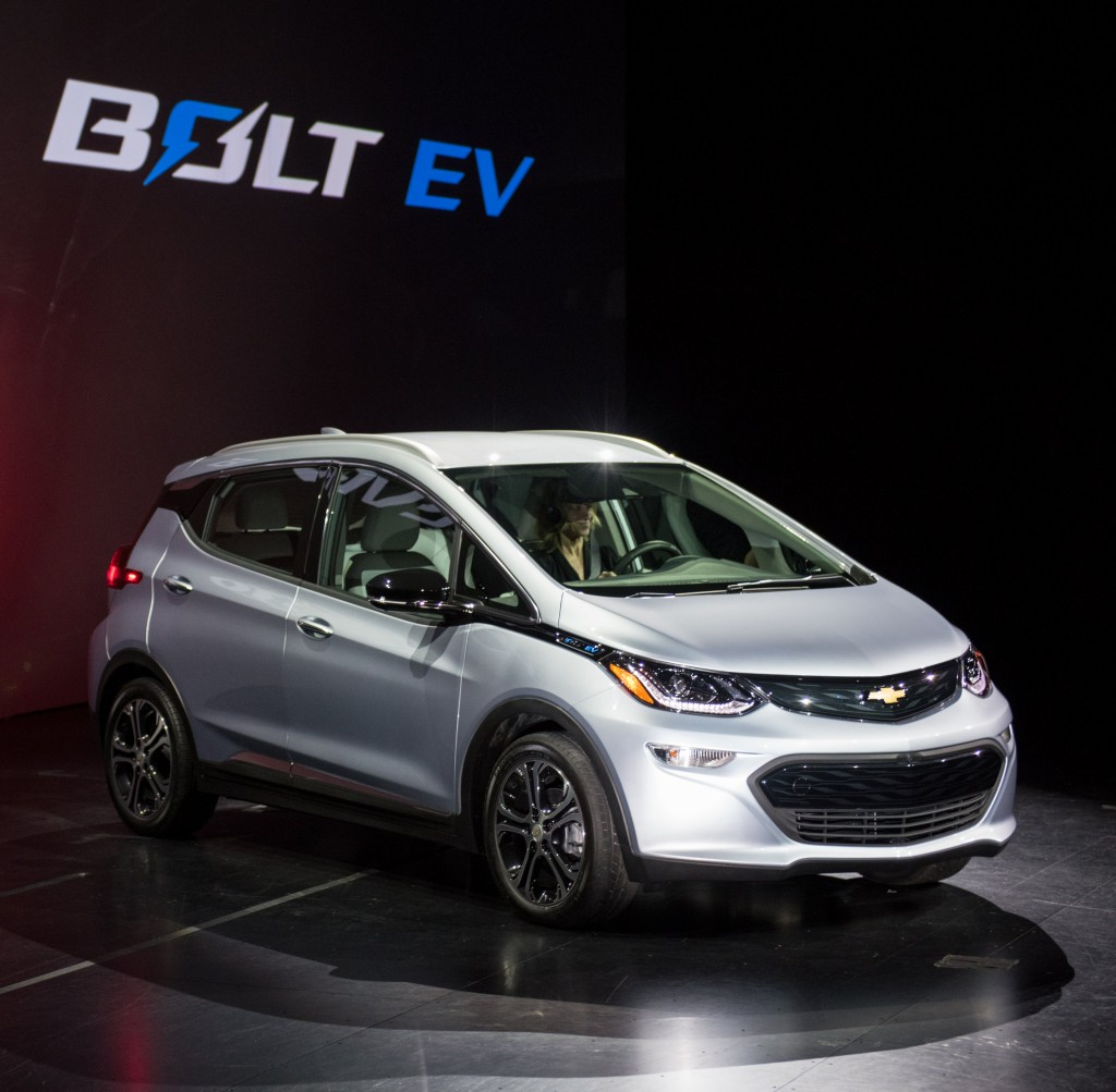 The 2017 Chevrolet Bolt EV makes its world debut at the Consumer Electronics Show Wednesday, January 6, 2016 in Las Vegas, Nevada. The Bolt EV offers more than 200 miles of range on a full charge at a price below $30,000 after Federal tax credits. The Bolt EV also offers connectivity and infotainment technologies seamlessly integrating smartphones and other electronic devices. The Bolt EV will go into production by the end of 2016. (Photo by Steve Fecht for Chevrolet)