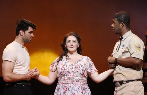Ben Crawford as Starbuck, Tracy Lynn Olivera as Lizzie Curry and Kevin McAllister as File. Photo by Carol Rosegg