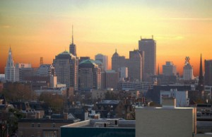 Picture of Buffalo's downtown region taken from a hotel at sunset (Photo: ThWoodman, via Wikimedia Commons).