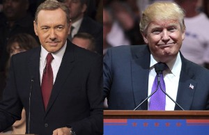 Spacey in House of Cards. Donald Trump at campaign rally in Nevada: Photo: Gage Skidmore via Flickr.com/photos/gageskidmore/