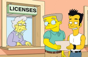 "Waylon Smithers (center) in ""The Burns Cage"" episode of The Simpsons"