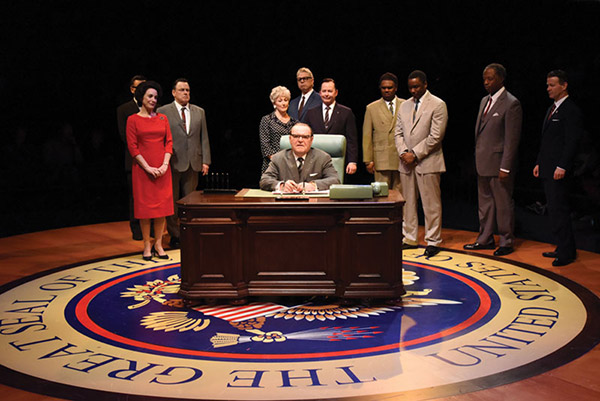 """Jack Willis as President Lyndon Baines Johnson and the cast of """"All the Way"""" - Photo: Stan Barouh"""
