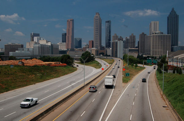Downtown Atlanta's skyline from Jackson Street (Photo: Matt Lemmon, via Wikimedia).