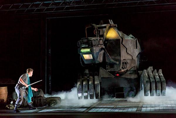 Daniel-Brenna, as Siegfried, faces off against Fafner - Photo: Scott Suchman for WNO