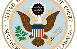 Seal of the United States District Court for the Southern District of Alabama, via Wikimedia.
