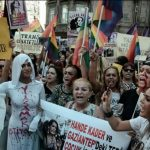 Protesters demonstrating in Istanbul against the murder of LGBT activist Hande Kader - Photo: Istanbul LGBTI Solidarity Association, via Facebook.