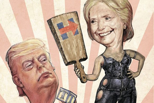 Donald Trump and Hillary Clinton -- Illustration: Scott G. Brooks