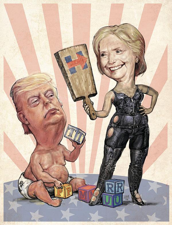 Donald Trump and Hillary Clinton -- Illustration: Scott G. Brooks