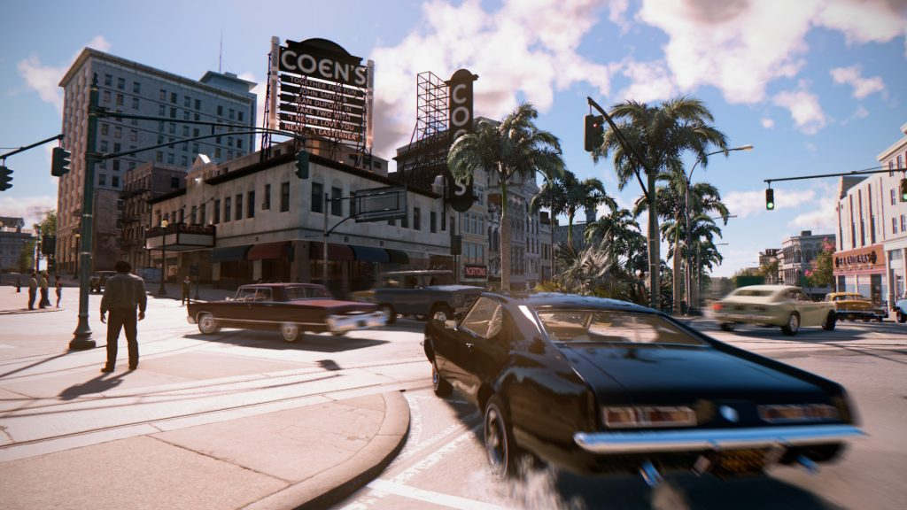 Driving is fast and fun, with a camera view inspired by classic Hollywood chase scenes