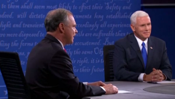 Tim Kaine (left) and Mike Pence debate at Longwood University in Farmville, Va. - Photo: The Guardian.
